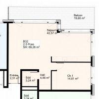Appartement de 2,5 pièces avec balcon au 3 ème étage
